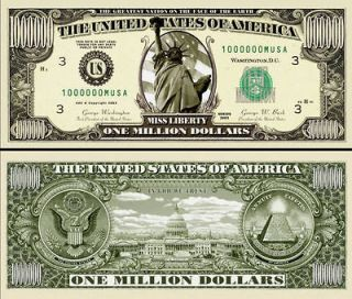 30 Realistic $1,000,000 Million Dollar Bill, Statue of Liberty Novelty