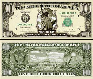 30 Realistic $1,000,000 Million Dollar Bill, Statue of Liberty Novelty