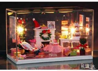 LED Light dollhouse miniatures Merry Christmas Room kit with cover
