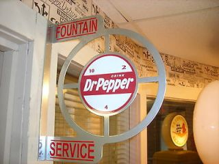 DR. PEPPER NOSTALGIC VINTAGE ERA WALL FLANGE ADVERTISING SIGN