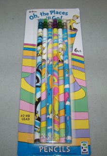 DR SEUSS Cat In The Hat Party Favors PENCILS OH THE PLACES YOULL GO