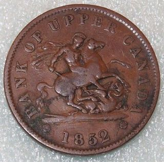 1852 BANK OF UPPER CANADA BANK TOKEN ONE PENNY 1 cent COIN