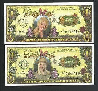 2X 2009 $1 DOLLYWOOD DOLLARS + DISNEY DOLLAR ENVELOPE
