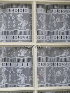 French Lace Curtains, 2 White Window Panels, Clowns, 36 x 30