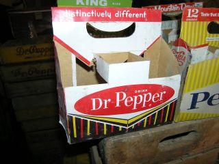 Vintage Dr Pepper Pop Bottle Carrier Cardboard Holder Six 6 Pack Soda