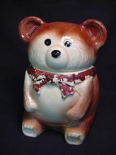 Teddy Bear Ceramic Cookie Jar Vtg Xmas Porcelain Doll Figurine Japan