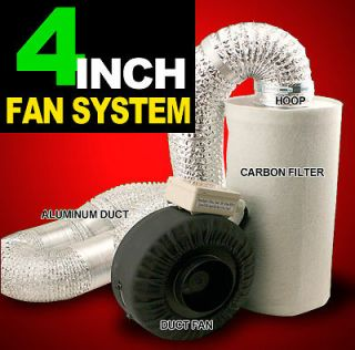 hydroponics Inline Duct Tube Exhaust Fan Carbon Filter Kit 190CFM