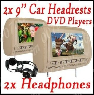 Pair 2X Car dvd player beige 9 DUAL DVD HEADREST MONITORS Games Radio