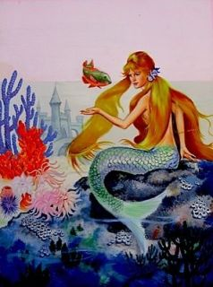 The Little Mermaid Cover Art Painting Jeanne Voelz 1960 VTG + Original