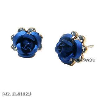 18K Gold Plated Ear Pin Use Swarovski Crystal Blue Rose Flower Earring