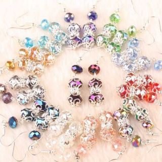 Mix Crystal Glass Faceted Bead Dangle Earrings 15 Pairs