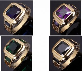 10,11 Jewelry Mans 10KT Yellow Gold Filled Ring Gift Sapphire/Emerald