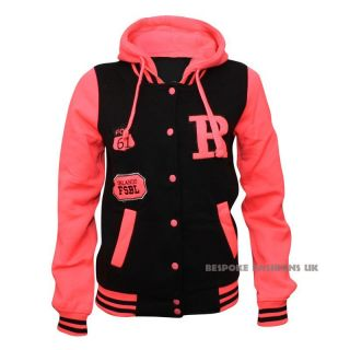 NEW NEON WOMENS VARSITY BOMBER LADIES BASEBALL JACKET HOODIE ORLANDO