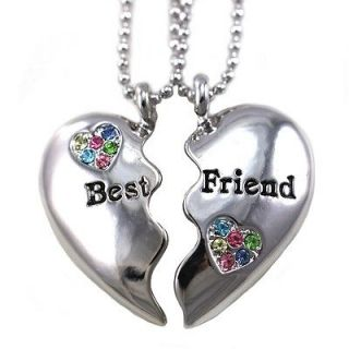 Forever BFF Multicolor Heart Two Pendant Necklace Engraved Charm h1