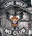 LONE WOLF NO CLUB VEST JACKET PATCH 15 INCH BIKER MOTORCYCLE