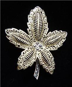 Caviness Sterling Gold Vermeil Marcasite Pin Brooch Leaf Filigree