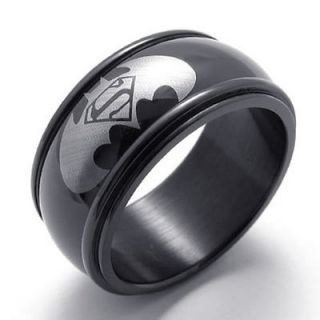 Batman Superman Symbol Black Stainless Steel Mens Ring Size 10 W20961