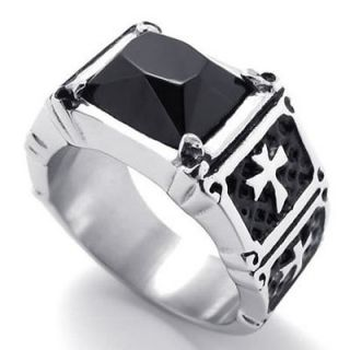 Black Silver Tone Cross Stainless Steel Mens Ring Size 9 R20785