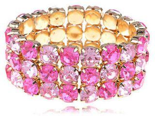 Pink Acrylic Crystal Rhinestone Gold Tone Elastic Cuff Bracelet Bangle