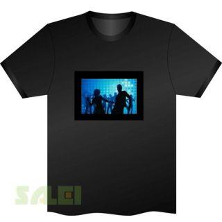 Black Music Sound Activated EL Equalizer DJ Disc LED T Shirt Cool