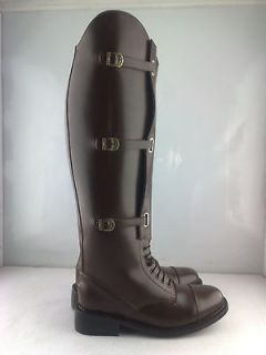 Men Field Leather Equestrian English Horse Riding Boot with Tan Top US