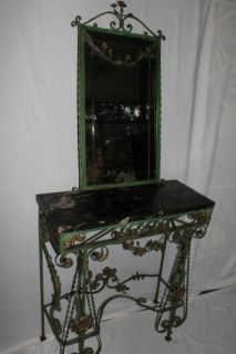 French Wrought Iron Marble Top Console and Mirror with Elaborate
