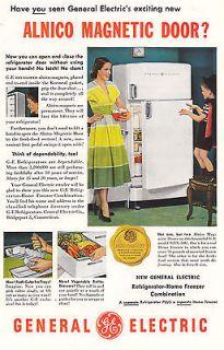 1950 General Electric Alnico Magnetic Door Refrigerator, Print Ad