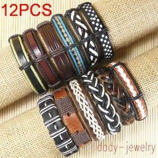 Wholesale lots surfer ethnic tribal 12pcs genuine Leather Bracelets