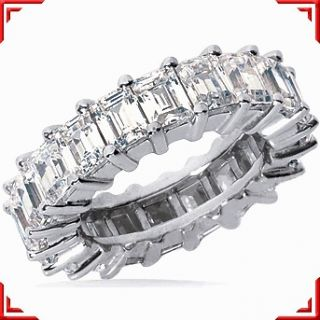 Emerald Cut DIAMOND Eternity Band, 14K Gold RING 24 x 0.16 ct size 5