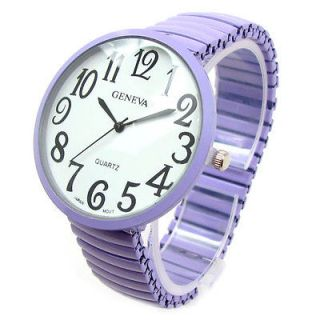 Newly listed Purple Super Size Round Face Stretch Band Womens WATCH