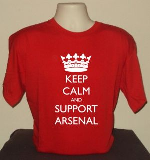 CALM AND SUPPORT ARSENAL T SHIRT RETRO COOL FUNNY QUALITY FOOTBALL