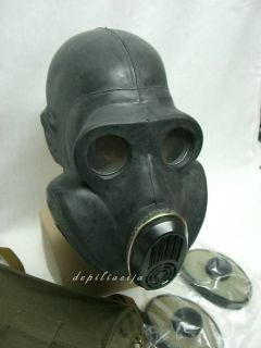 Soviet USSR BLACK gas mask PBF (with EO19) sz 2 medium