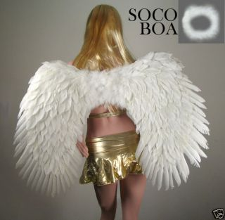 SUPER LARGE White Feather Angel Wings Free HALO ADULT L costume large