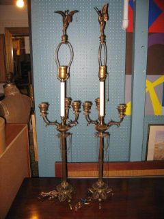 PAIR OF F. BARBEDIENNE BRONZE TABLE LAMPS / CANDLEABRAS