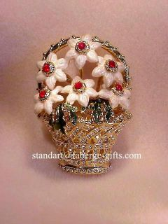 Valentines Day Spring Flowers Ruby & Diamond Brooch #7R