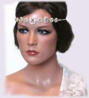 OOAK HANDMADE Grecian SWAROVSKI CRYSTAL RHINEATONE BRIDAL HEADBAND and