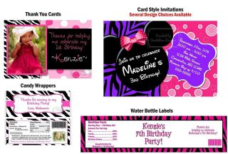 Minnie Mouse Pink Purple Birthday Party Invitations, Supplies Favors