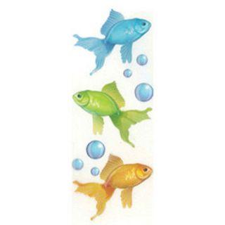 NEW 9 PC GOLDFISH Gold Green Blue Water Bubbles Oranda JOLEES 3D