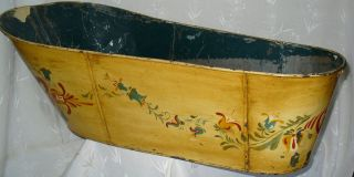 Beautiful Hand Painted Antique Victorian Rare Tin Metal Baby Wash Tub