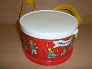 Vintage 1979 Fisher Price Plastic Toy Drum Carry Case Adjustable