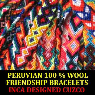 PERUVIAN 100 % WOOL FRIENDSHIP BRACELETS WOVEN ANDEAN FROM CUZCO PERU