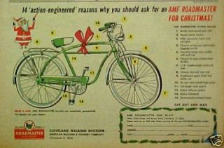 Roadmaster~Cleveland Welding Flying Falcon Bicycle,Bike Christmas AD