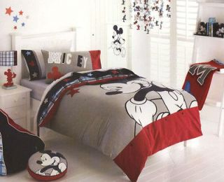 DISNEY Mickey Mouse Blue Grey DOUBLE/KING SINGLE Quilt/Doona Cover Set