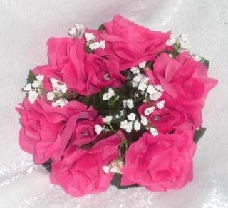 Lot ~ Watermelon HOT PINK FUCHSIA Silk Wedding Flowers Decoration