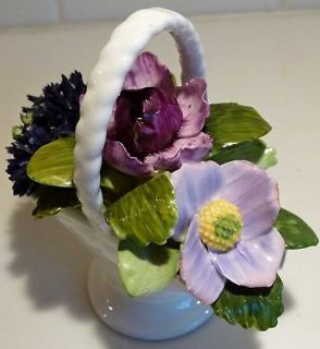 Royal Adderley Bone China basket containing flowers