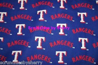 Texas Rangers Cotton MLB Baseball Blue Craft Quilt Fabric OOP 1 YARD