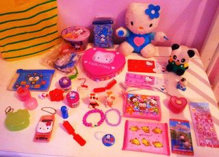 HELLO KITTY TOYS BUNDLE JOB LOT trinkets figures stickers charms