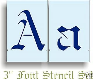 Old English Font Stencil Wall Letter Alphabet F346