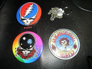 GRATEFUL DEAD LOT NEW PEWTER BEAR KEYCHAIN & 3 PINS