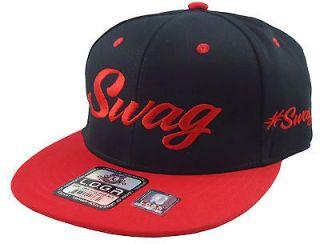 NEW VINTAGE SWAG FLAT BILL SNAPBACK BASEBALL CAP HAT BLACK/RED